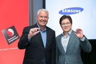 Keith Kressin, senior vice president, product management, Qualcomm Technologies Inc. and Ben Suh, senior vice president, foundry marketing, Samsung, show off the first 10 nanometer mobile processor, the Snapdragon 835, in New York at the Qualcomm Snapdragon Technology Summit.