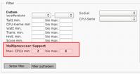 Filter in der Prozessorliste