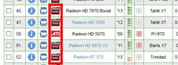 Am Logo zu erkennen: welche Modelle wurden unter dem Markennamen AMD und ATI veröffentlicht wurden.